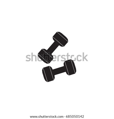 Dumbbell vector icon weight