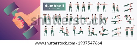 Dumbbell Workout Set. Women workout fitness, aerobic and exercises. Vector Illustration. Stock photo ©