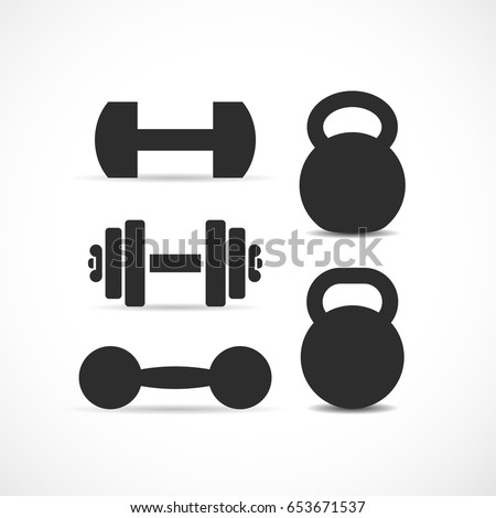 Dumbbells and kettlebells vector icon set on white background