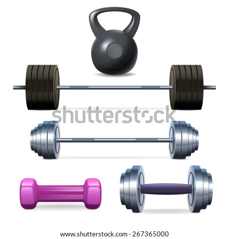 Dumbbells barbells and weight fitness and bodybuilding equipment realistic icons set isolated vector illustration