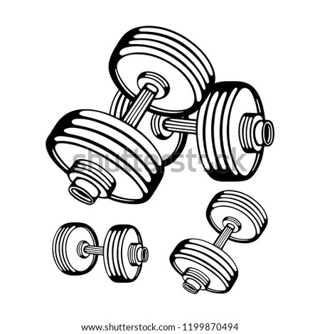 Dumbbells. Dumbbells hand drawn vector illustrations set isolated on white background. Gym equipment. Gym or fitness club logo or icon design element.