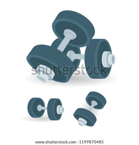 Dumbbells. Dumbbells vector illustrations set isolated on white background. Gym equipment. Gym or fitness club logo or icon design element.