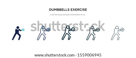 dumbbells exercise icon in different style vector illustration. two colored and black dumbbells exercise vector icons designed in filled, outline, line and stroke style can be used for web, mobile,