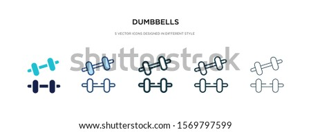 dumbbells icon in different style vector illustration. two colored and black dumbbells vector icons designed in filled, outline, line and stroke style can be used for web, mobile, ui