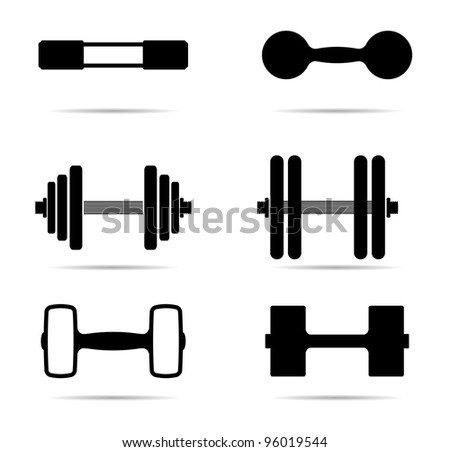 Dumbbells icons silhouette