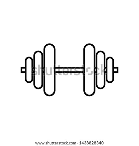 Dumbbells monochrome icon in line style isolated on white background, symbol of equipment for training in the gym. Simple dumbbells illustration.- vector