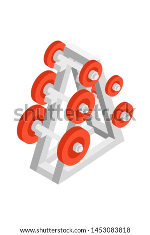 Dumbbells rack isometric illustration. Weight lifting zone equipment 3D vector drawing. Fitness club, bodybuilding gym. Barbells set for biceps muscles training. Heavy athletics workout, weightlifting