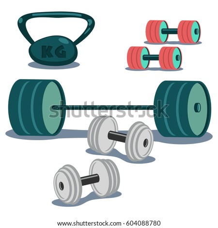 Dumbbells, weight and barbell icons set. Cartoon vector illustration isolated on white background.