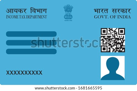 Dummy Pan card, unique identity document for Indian citizen issued by Government of India. Vector