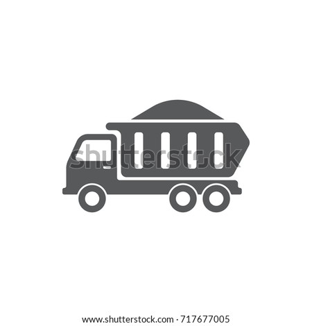 Dump truck icon on the white background