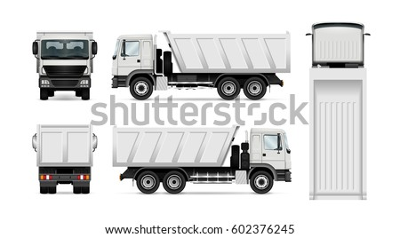 Dump truck vector illustration. Isolated white tipper lorry set. All layers and groups well organized for easy editing. View from side, back, front, top.