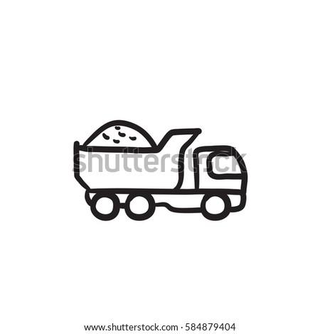 dump truck vector sketch icon