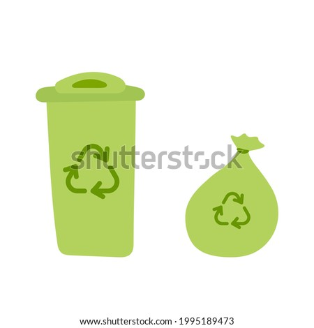 Dumpster and garbage bag. Trash can with recycle sign. Green recycling bin bucket for trash. Environmental protection concept. Hand drawn Vector illustration in flat style isolated on white background Stockfoto ©