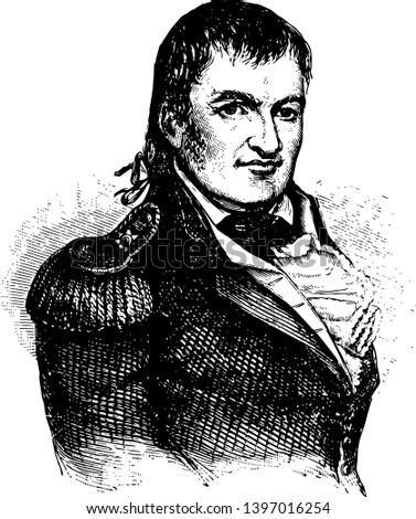 Duncan McArthur 1772 to 1839 he was a military officer politician and governor of Ohio vintage line drawing or engraving illustration