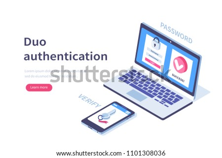 Duo authentication concept banner with text place. Can use for web banner, infographics, hero images. Flat isometric vector illustration isolated on white background.
