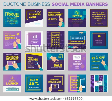 Duo-tone styled social media business banners and post templates. Outlined vector design, easy to edit.