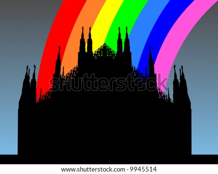 Duomo Milan with colorful rainbow illustration