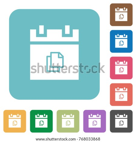 Duplicate schedule item white flat icons on color rounded square backgrounds