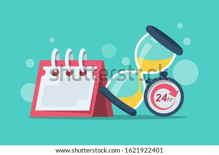 Duration concept. Vector illustration cartoon design. Calendar stopwatch and hourglass isolated on background. Time flat icon.