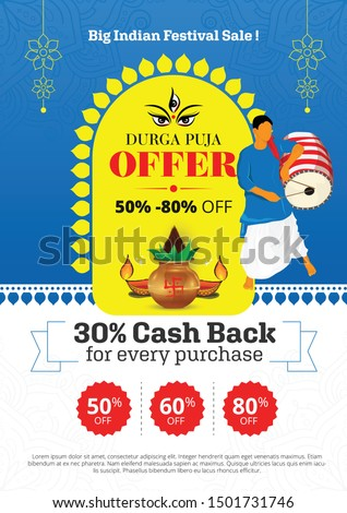 Durga Puja Festival Offer Poster Design Layout Template A4 Size Vector Illustration  Stock photo ©