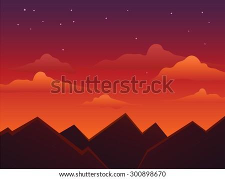dusk sky on top of mountain