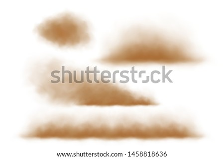 Dust and sand clouds isolated vector on white.