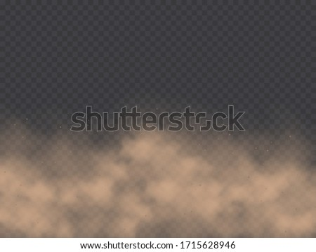 Dust cloud, road dirt, brown sandstorm explosion in desert concept. Dirty sandy cloud isolated on a transparent background. Vector illustration.