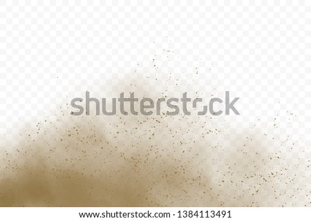 Dust cloud with particles. Sandstorm vector illustration.