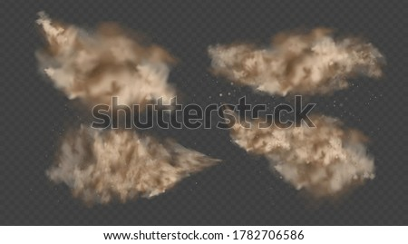 Dust explosion, sandstorm, powder burs on transparent background. Desert wind with cloud of dust and sand. Set of realistic pouder of desert and stone vector illustration