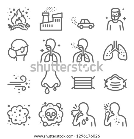 Dust Pollution Vector Line Icon Set. Contains such Icons as Lung, Factory, Dust Mask, Dirt Air and more. Expanded Stroke