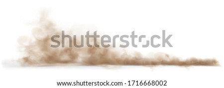 Dust sand cloud on a dusty road from a car. Scattering trail on track from fast movement. Transparent realistic vector stock illustration