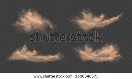 Dust sand clouds set with stones and flying dusty particles isolated on transparent background. Desert sandstorm. Realistic vector illustration