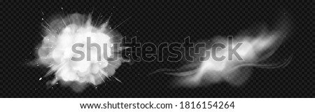 Dust spray, white smoke, powder explosion with particles. Flow mist, smoky stream trail, aroma or toxic clouds, steaming chemical or cosmetics product vapour. Realistic 3d vector isolated clip art set