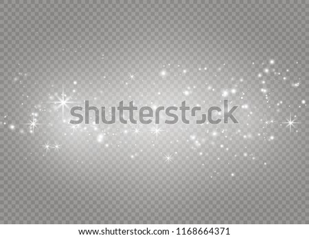 Dust white. White sparks and golden stars shine with special light. Vector sparkles on a transparent background. Christmas abstract pattern. Sparkling magical dust particles.