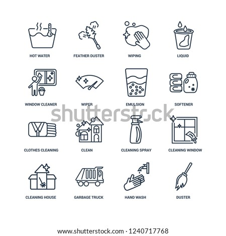 Duster, Hand wash, Garbage truck, Cleaning House, Window, Hot water, Window cleaner, Clothes Cleaning, Emulsion outline vector icons from 16 set