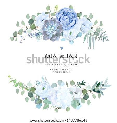 Dusty blue rose, echeveria succulent, white hydrangea, ranunculus, anemone, eucalyptus, juniper vector design wedding bouquets.Seasonal flower card.Floral square composition.Isolated and editable