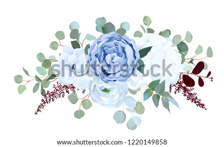 Dusty blue rose, white hydrangea, ranunculus, anemone, eucalyptus, burgundy red astilbe vector design bouquet. Wedding seasonal flowers.Floral border composition.All elements are isolated and editable