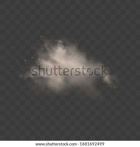 Dusty cloud. Smoke with sand, stones and flying dirty, soil dust particles isolated on transparent background. Air pollution concept.