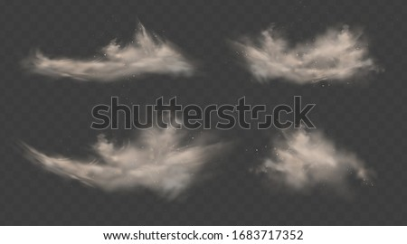Dusty clouds set. Smoke with sand, stones and flying dirty, soil dust particles isolated on transparent background. Air pollution concept. Realistic vector illustration
