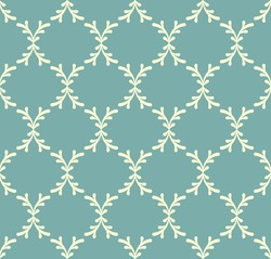 Dusty green blue and beige floral seamless pattern. Abstract geometric pattern in arabic style. Simple vector seamless design for background, paper, textile, wallpaper, web