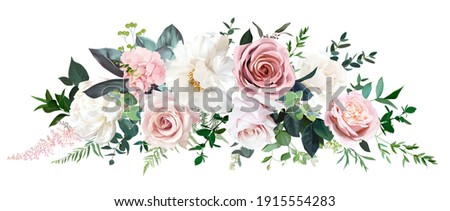 Dusty pink and cream rose, peony, hydrangea flower, tropical leaves vector garland wedding bouquet.Eucalyptus, greenery.Floral pastel watercolor style.Spring bouquet.Elements are isolated and editable