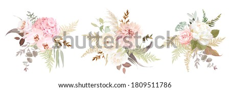 Dusty pink and ivory beige rose, pale hydrangea, peony flower, fern, dahlia, ranunculus, protea, fall leaf bunch of flowers. Floral pastel watercolor style wedding  bouquet. Isolated and editable