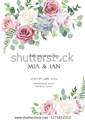 Dusty pink, creamy white antique rose, pale flowers vector design wedding frame. Eucalyptus, echeveria succulent, greenery. Floral pastel watercolor style border.All elements are isolated and editable