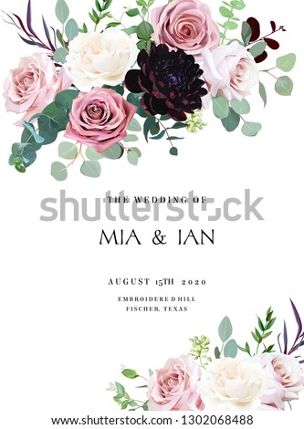 Dusty pink, creamy white antique rose, pale flowers vector design wedding frame. Eucalyptus, dark burgundy dahlia, greenery.Floral pastel watercolor style border.All elements are isolated and editable