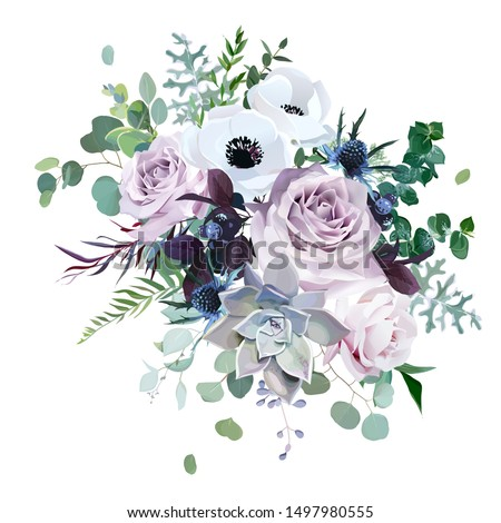 Dusty violet lavender, mauve antique rose, purple pale flowers,brunia, white anemone, succulent vector design wedding bouquet. Eucalyptus, greenery.Floral pastel watercolor style.Isolated and editable