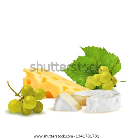 Dutch cheese, brie with grapes low poly. Fresh brie, nutritious dutch cheese, tasty cottage cheese. Vector illustration. Cheese with grapes in triangulation technique.