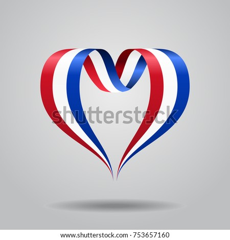 Dutch flag heart-shaped wavy ribbon. Vector illustration.