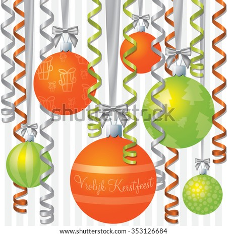 Christmas netherlands vector pattern download free vector art dutch orange and lime ribbon and bauble inspired merry christmas card in vector format m4hsunfo