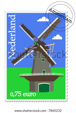 Dutch stamp with windmill from Holland - stock vector