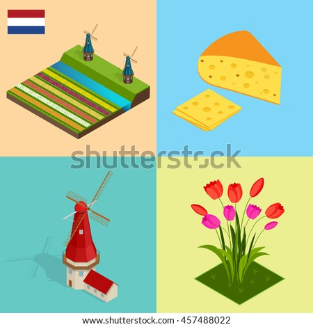dutch windmill and colorful